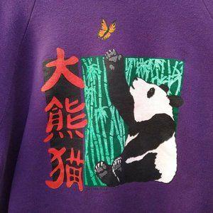 Vintage Panda Bear Purple Sweatshirt Size XL